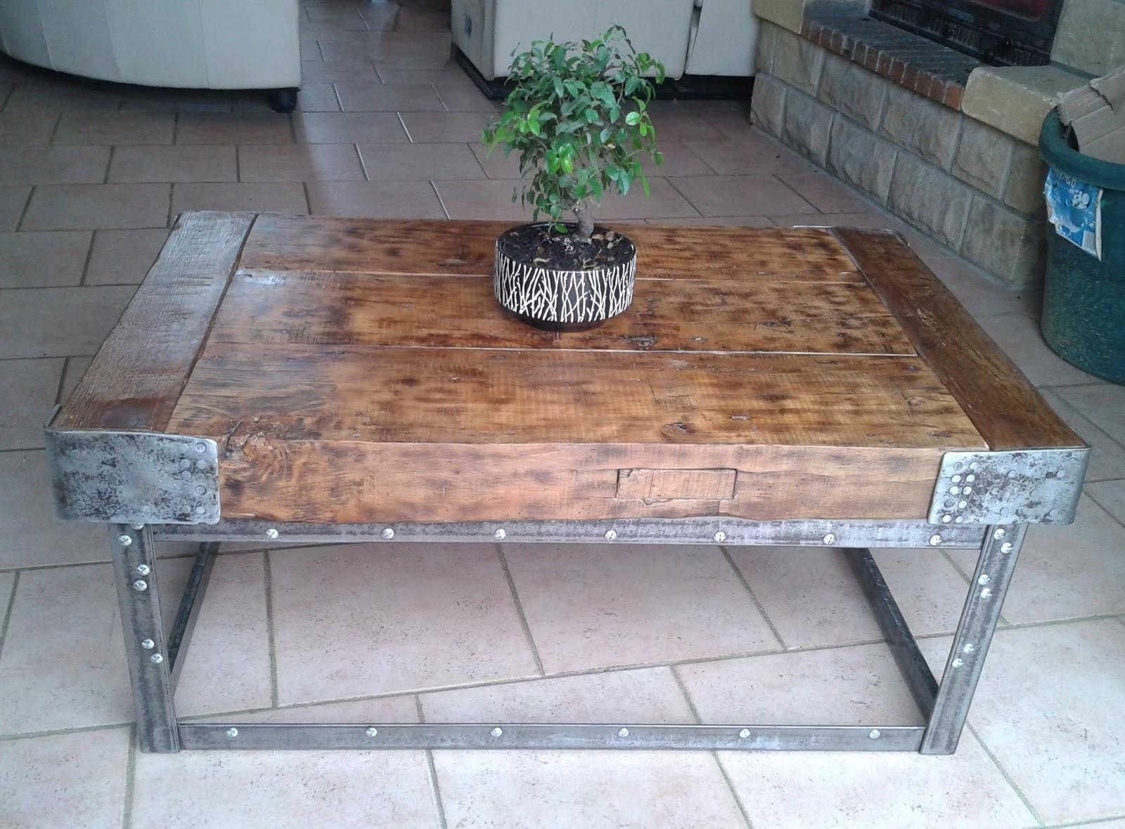 O Bois Recycle Table Basse En Poutre De Chene Et Acier