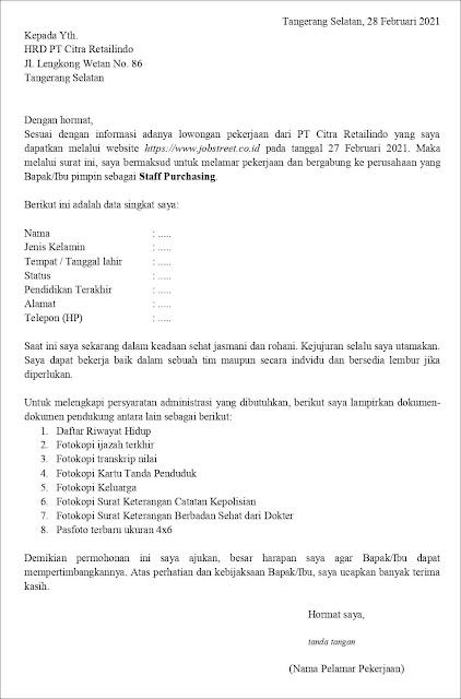 Contoh Application Letter Untuk Staff Purchasing (Fresh Graduate) Berdasarkan Informasi Dari Website
