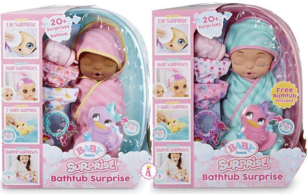 Большие пупсы Baby Born Bathtub Surprise с 20 сюрпризами