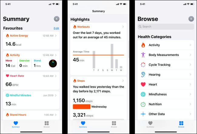 صفحات مختلفة في تطبيق Health