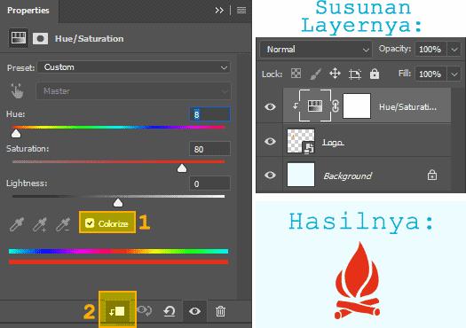 Cara merubah warna Smart Object menggunakan Hue/Saturation di Photoshop