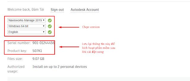 Bước 2: Lựa chọn version và download