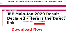 JEE Main Jan 2020 Result Declared - Here is the Direct link