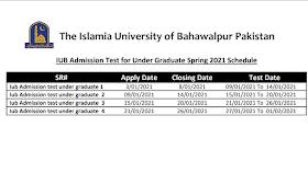 Online IUB Admission Test For Under Grauate Spring-2021 Schedule (IUB Spcieal NAT Test-2021)