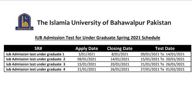 IUB Admission Test For Under Grauate Spring-2021 Schedule (IUB Spcieal NAT Test-2021)
