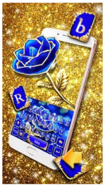 Gold Blue Rose Crystal Keyboard Theme