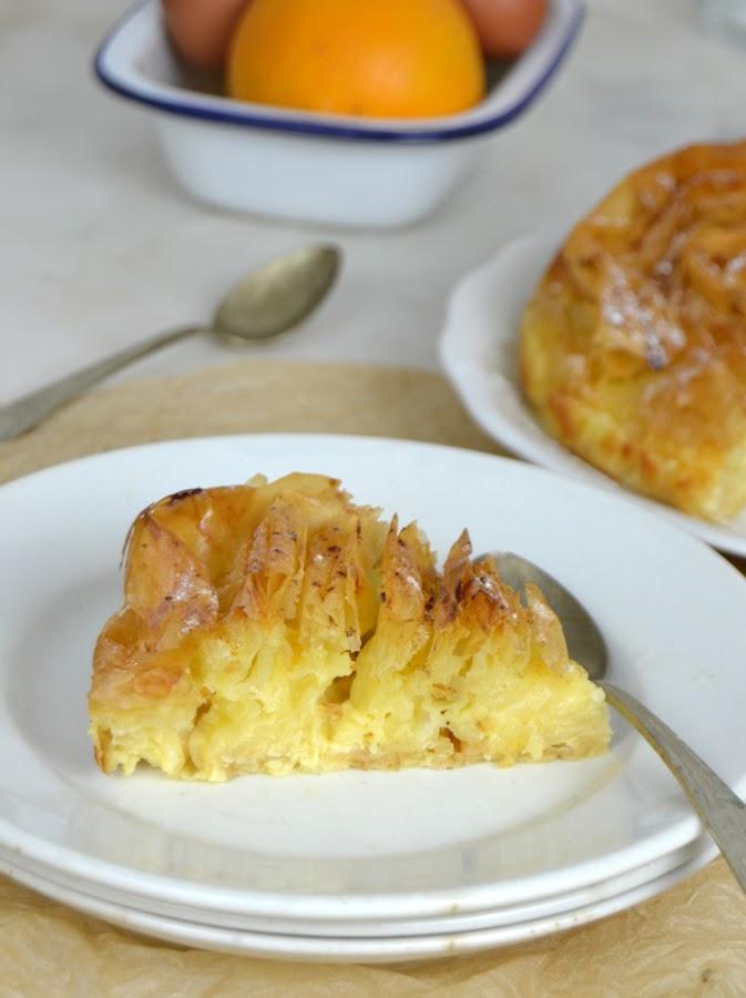 Tarta de masa filo y flan. Ruffle milk pie