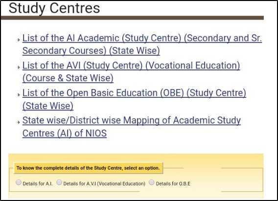 Nios study centre