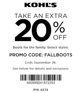 Kohls coupon 20% OFF Boots for the family