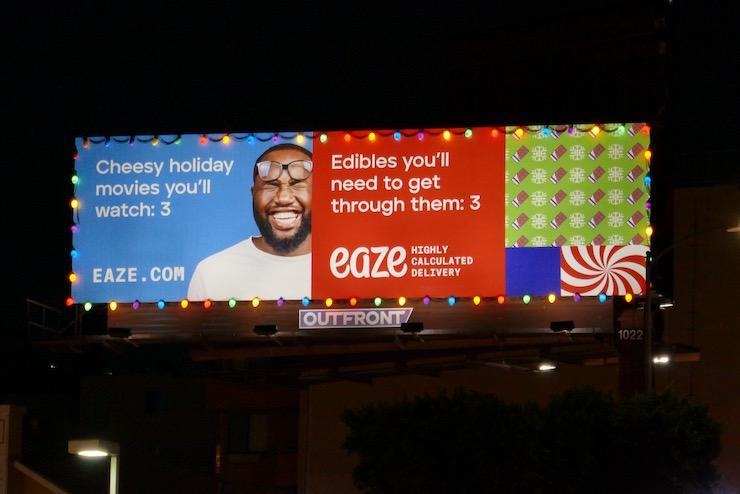 Eaze holiday lights billboard night