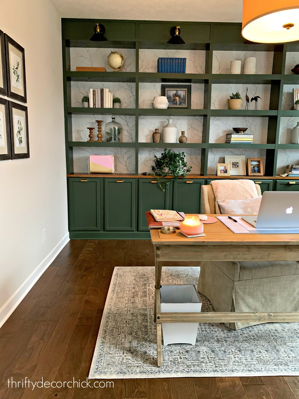 Dark green DIY office built ins
