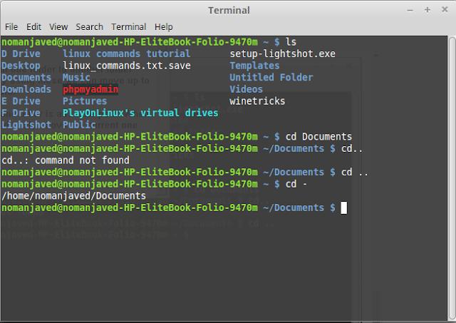 changing directories using linux / ubuntu terminal