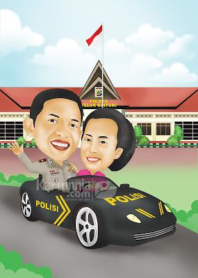 Karikatur Polisi Naik Mobil