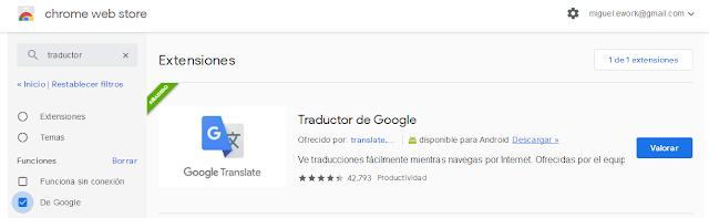 Instalar la extensión de Google Translate en el navegador Chrome del ordenador