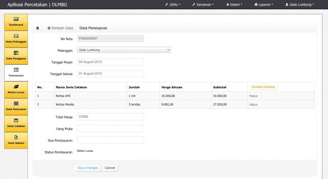 Download Source Code Aplikasi Percetakan dengan CodeIgniter