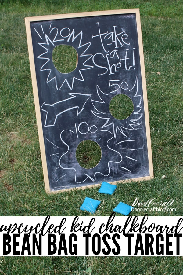 Upcycle an old chalkboard into a versatile bean bag toss game...perfect for a carnival, party or hours of outside play time!