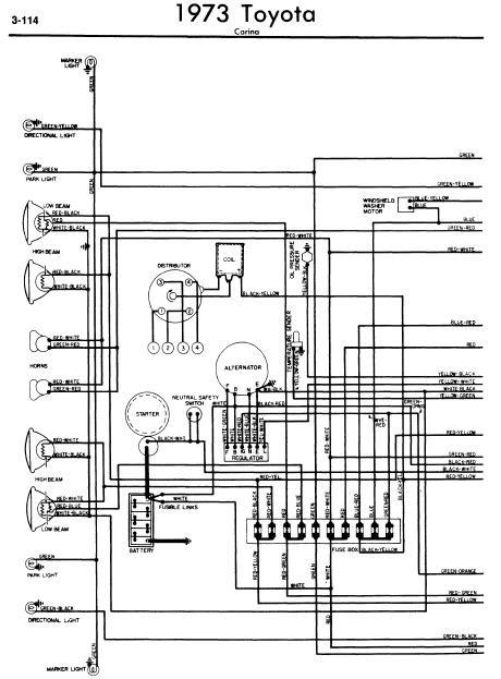 repairmanuals: Toyota Carina 1973 Wiring Diagrams