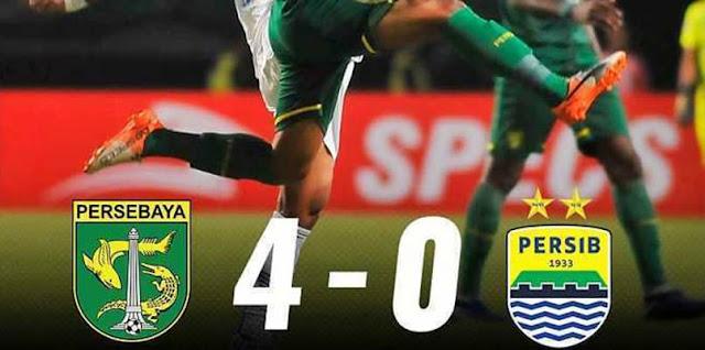 Hasil Pertandingan Liga 1, Persebaya vs Persib Bandung