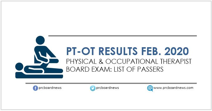 LIST OF PASSERS: February 2020 Physical, Occupational Therapist PT-OT board exam result