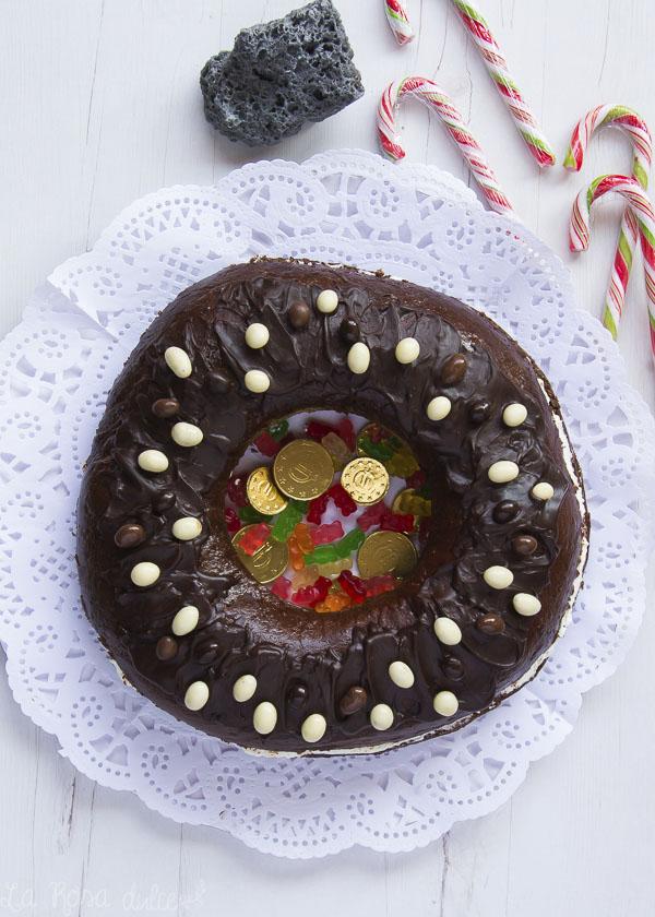 Roscón de Reyes de chocolate relleno de nata #sinlactosa