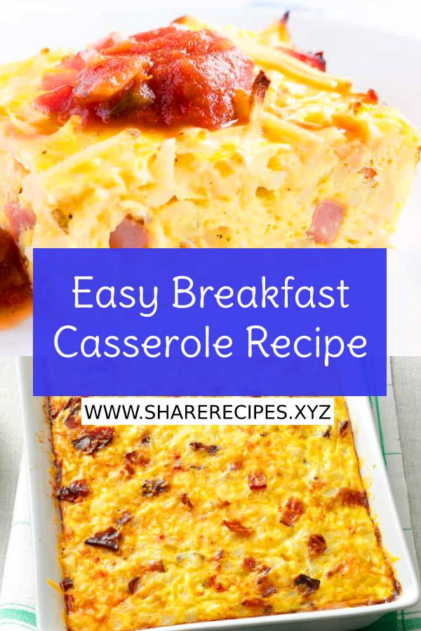This Easy Breakfast Casserole Recipe has hash browns, ham, cheese, and eggs. This hash brown breakfast casserole can be made overnight. Perfect for a holiday breakfast! #easybreakfastcasserole #easybreakfastcasserolerecipe #casserolerecipe #easybreakfastrecipe #breakfastrecipe #easycasserolerecipe #breakfast #holidaybreakfast