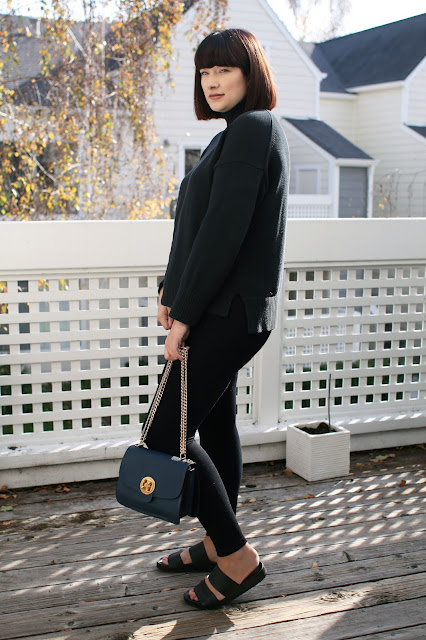 Blanqi, postpartum leggings, Everlane knitwear, all black outfit, ootd, WIWT, Fbloggers