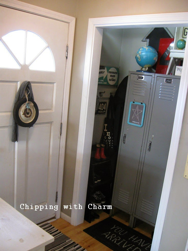 Chipping with Charm: Entry closet update...after. www.chippingwithcharm.blogspot.com
