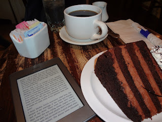 Image: A piece of cake, a cup of coffee, and my Kindle, by Zopalic on Pixabay