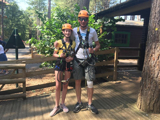 teen and her dad ready for aerial adventure at center parcs