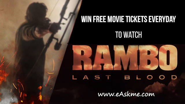 eAskme Giveaway ~ Win Rambo Last Blood (40) Free Movie Tickets: eAskme