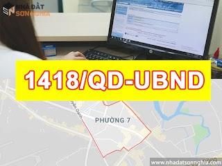 Quyết định số 1418/QĐ-UBND quy hoạch khu dân cư tỉ 1/2000 phường 7 quận Gò Vấp