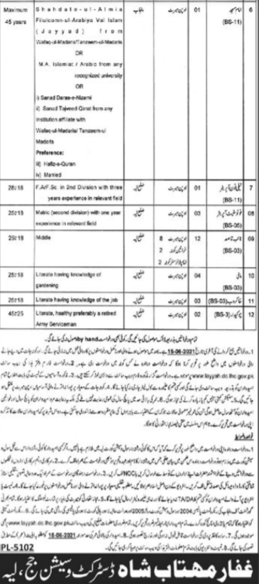District and Session Court Layyah Latest Jobs  Advertisement 2021