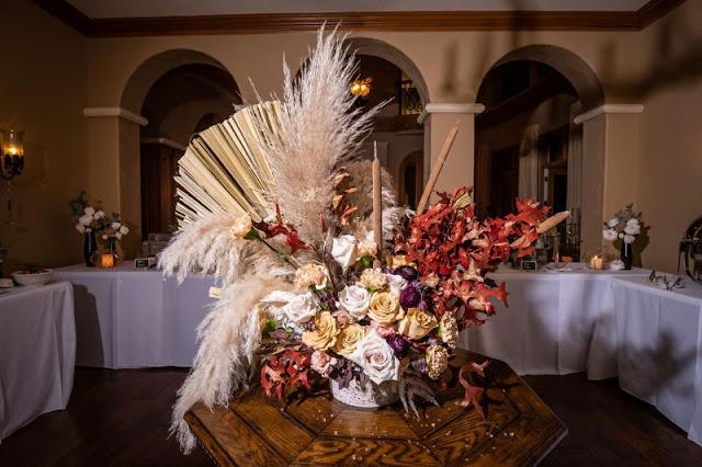 reception entrance floral arrangement