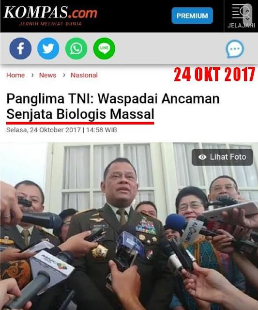 TERNYATA Panglima TNI Gatot Sudah Ingatkan: Waspadai Ancaman Senjata Biologis Massal, Menciptakan Epidemi