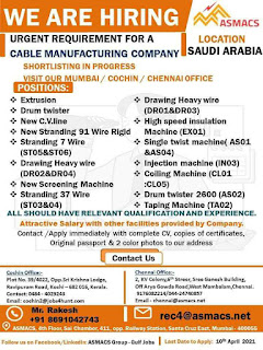 Requirement for Cable Manufacturing Company in Saudi