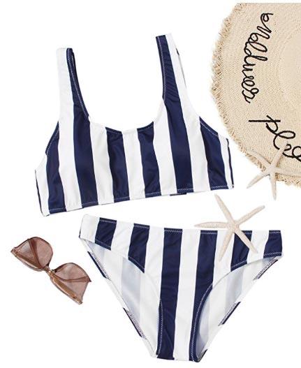 biquini rayas azul y blanco