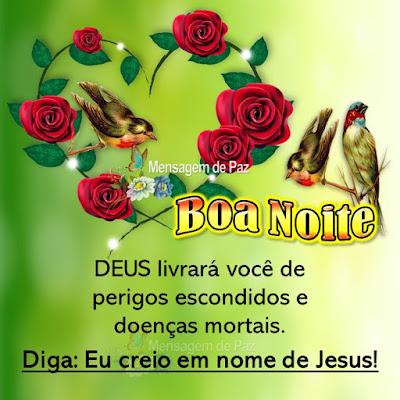 DEUS livrará você de perigos escondidos e doenças mortais. Diga: Eu creio em nome de Jesus! Boa Noite!
