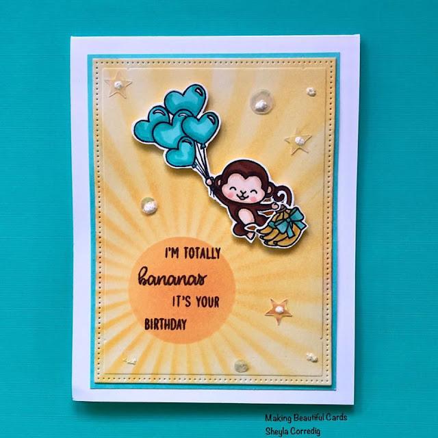Sunny Studio Stamps: Love Monkey Customer Card Share by Sheyla Corredig