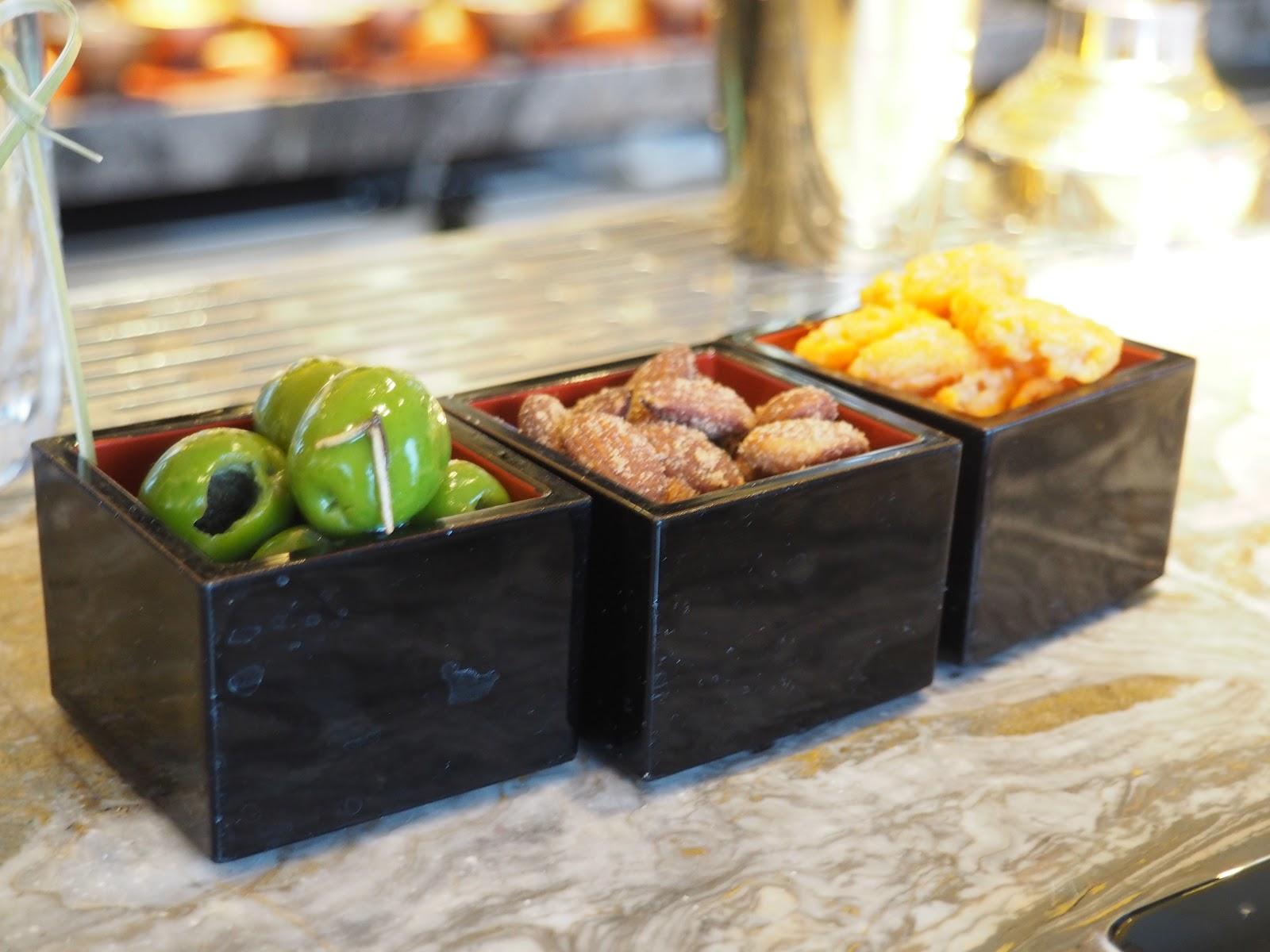 olives and nuts at GONG Bar at the Shangri La at The Shard