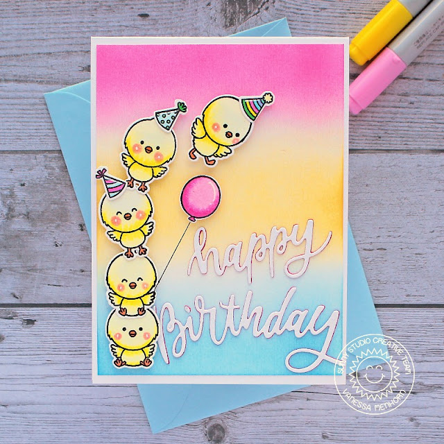 Sunny Studio Stamps: Chickie Baby Blooming Frame Dies Birthday Card by Vanessa Menhorn