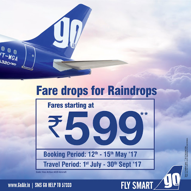Go Air offers air tickets Fares Rs 599 Booking at www.goair.in