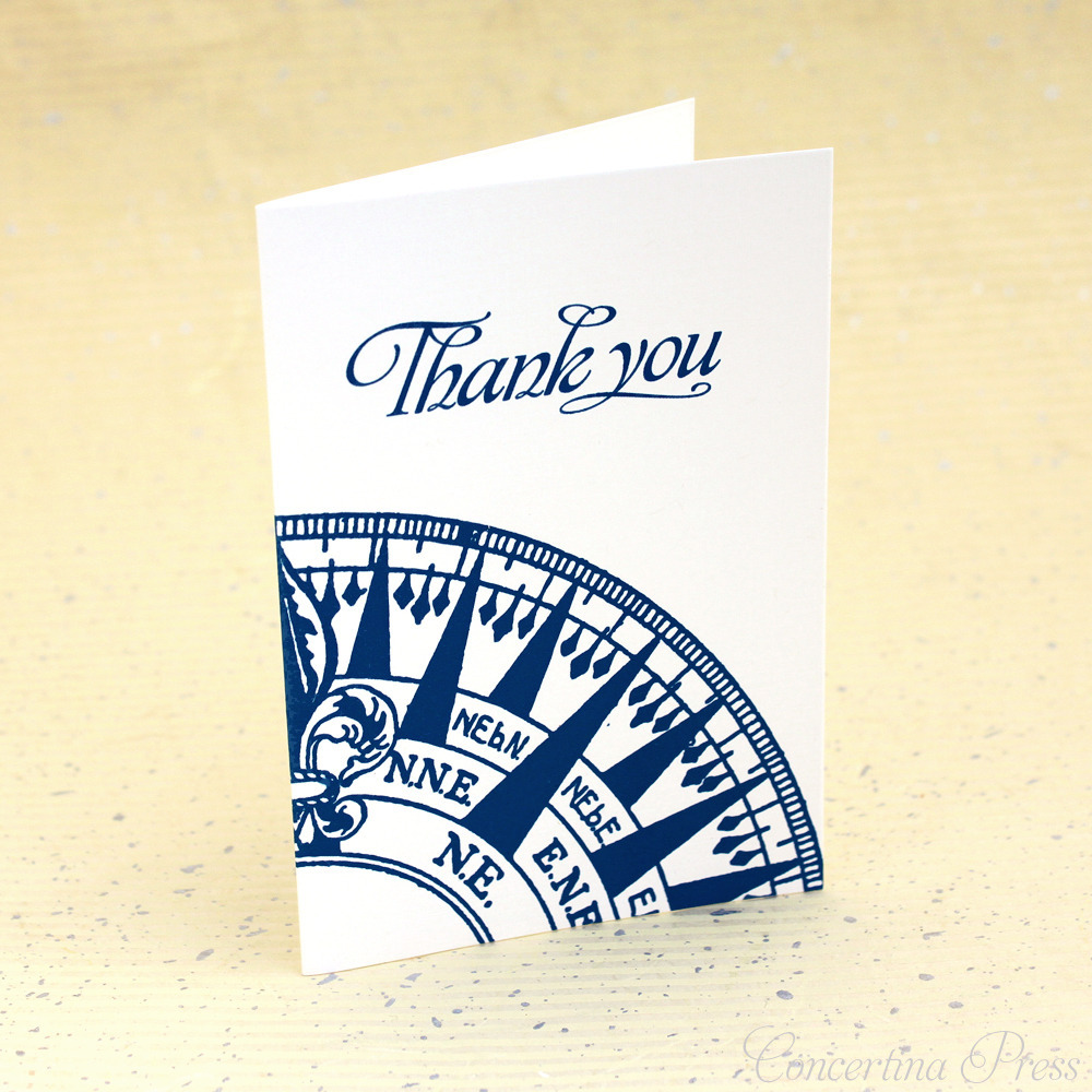 Nautical Thank You Notes in Navy and White with Compass Rose by Concertina Press
