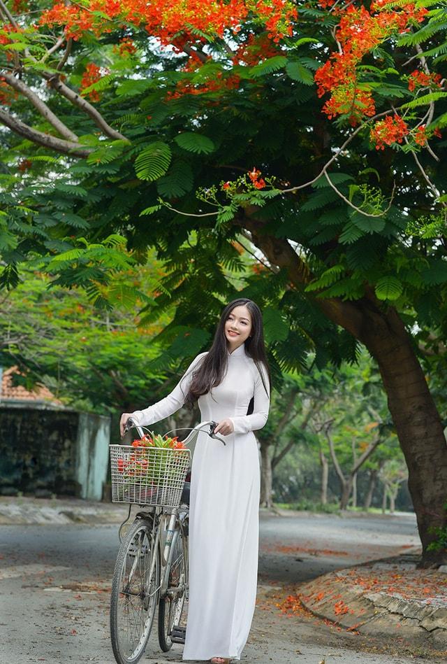 Quỳnh Trâm thướt tha trong tà áo trắng nữ sinh khi mùa phượng vĩ về -3