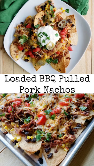 These Loaded BBQ pulled pork nachos are loaded with flavor and texture. They are perfect for game day, as a fun dinner or an appetizer for a party.