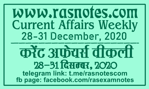 Current Affairs GK Weekly December 2020 (28-31 December) in hindi pdf