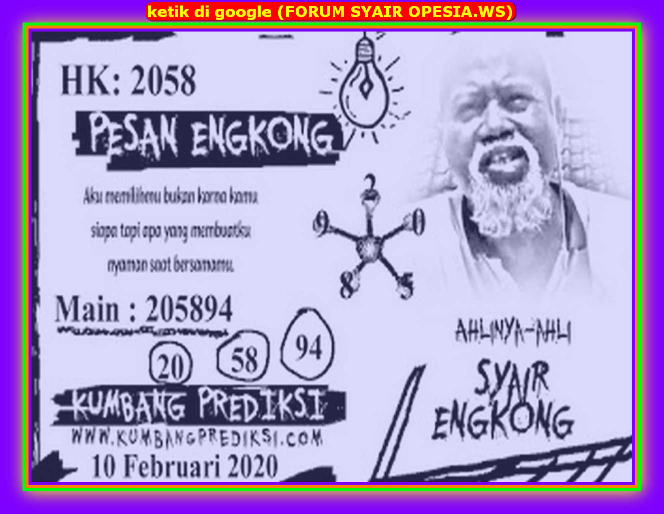 Kode syair Hongkong Senin 10 Februari 2020 114