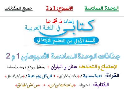 جميع جذاذات الأسبوعين 1و2 من الوحدة 6 كتابي في اللغة العربية  الاول ابتدائي (جميع المكونات)