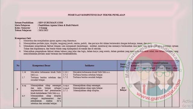 Pemetaan KD PAI Kelas 1 Kurikulum 2013 Revisi 2021 Semester 2