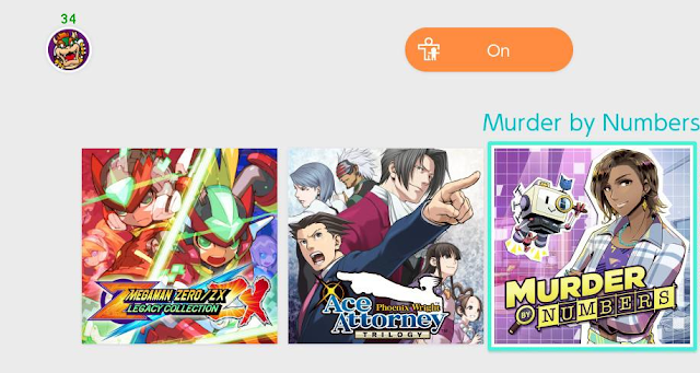 Nintendo Switch home menu icons Murder by Numbers Phoenix Wright Ace Attorney Trilogy Mega Man Zero/ZX Legacy Collection