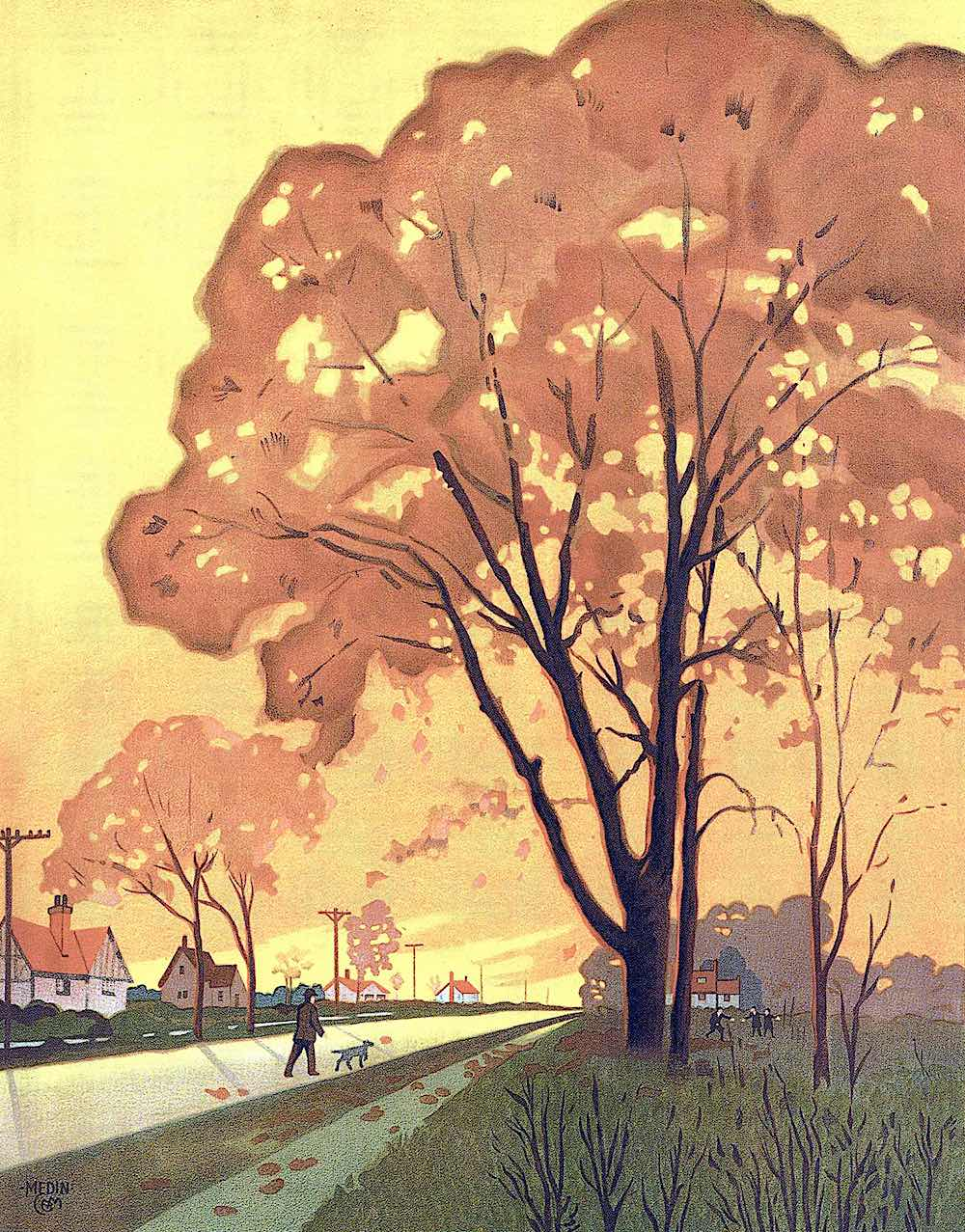 a 1920s Charles B. Medin illustration of a man walking his dog on an Autumn road